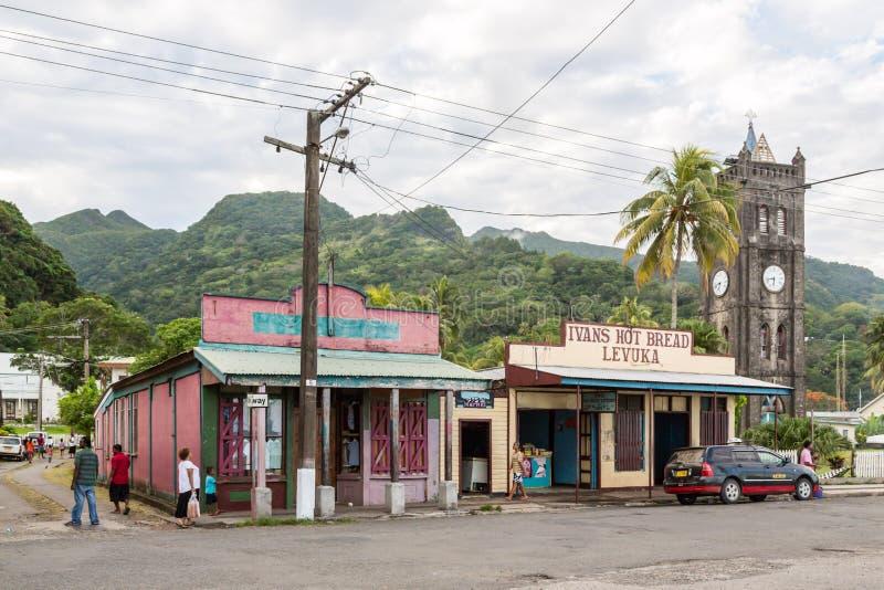 Levuka, Fiji Colourful wibrujące ulicy stary kolonialny kapitał Fiji: Levuka miasteczko, Ovalau wyspa, Fiji, Melanesia, Oceania zdjęcie royalty free