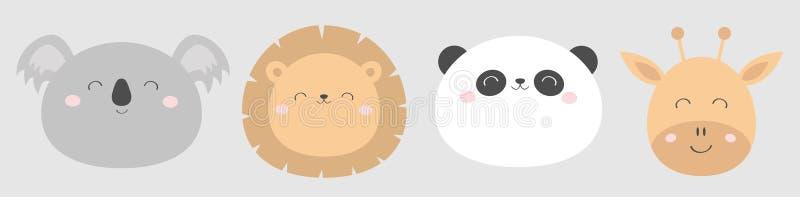 Lew żyrafy koali pandy bearround twarzy kierowniczej linii ikony set Kawaii zwierz? ?liczny posta? z kresk?wki ?mieszny dziecko d royalty ilustracja