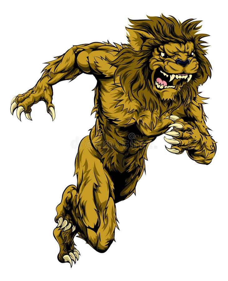 Lew bawi się maskotka bieg ilustracji