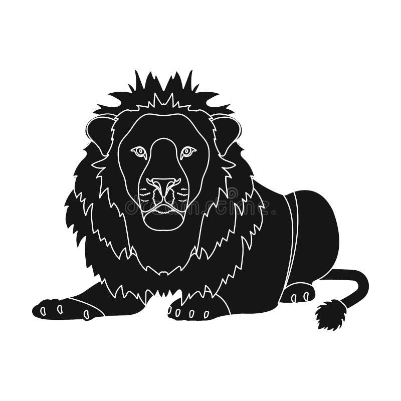 Lew, drapieżnik, dziki i okrutnie Leo królewiątko bestie przerzedże ikonę w czerń stylu symbolu wektorowym zapasie ilustracja wektor
