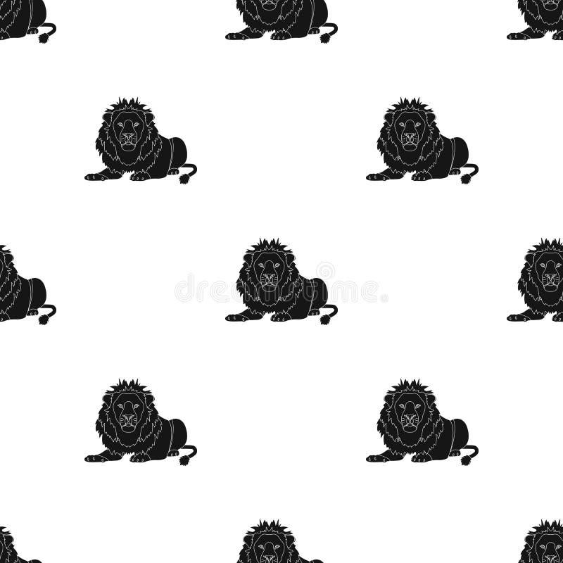 Lew, drapieżnik, dziki i okrutnie Leo królewiątko bestie przerzedże ikonę w czerń stylu symbolu wektorowym zapasie royalty ilustracja