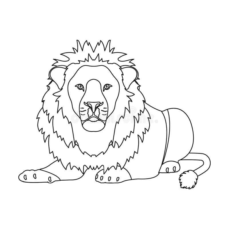 Lew, drapieżnik, dziki i okrutnie Leo królewiątko bestie przerzedże ikonę w konturu stylu symbolu wektorowym zapasie royalty ilustracja