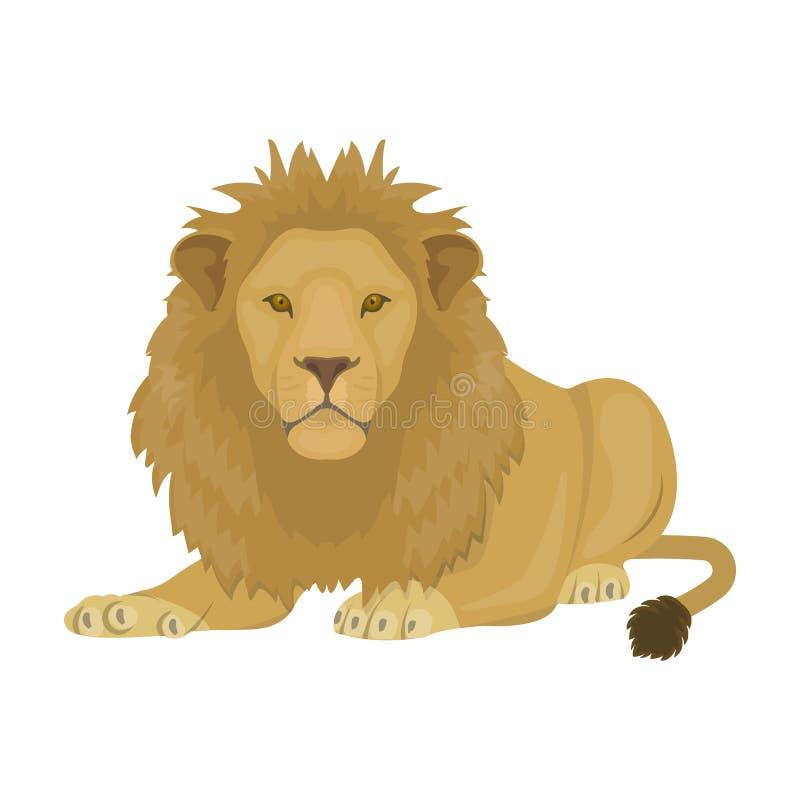 Lew, drapieżnik, dziki i okrutnie Leo królewiątko bestie przerzedże ikonę w kreskówka stylu symbolu wektorowym zapasie royalty ilustracja
