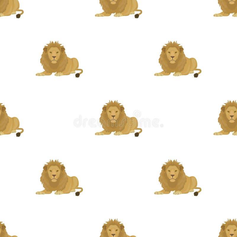 Lew, drapieżnik, dziki i okrutnie Leo królewiątko bestie przerzedże ikonę w kreskówka stylu symbolu wektorowym zapasie ilustracji