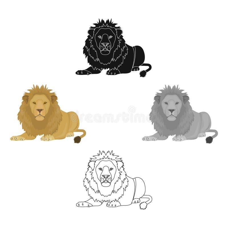 Lew, drapieżnik, dziki i okrutnie Leo królewiątko bestie przerzedże ikonę w kreskówka stylu symbolu wektorowym zapasie ilustracja wektor