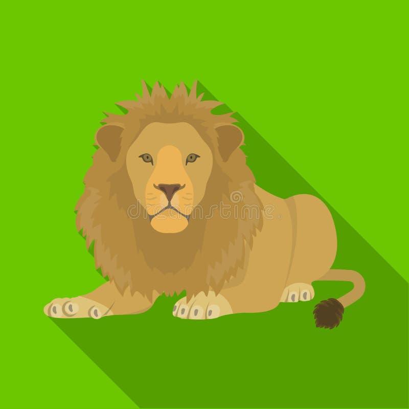 Lew, drapieżnik, dziki i okrutnie Leo królewiątko bestie przerzedże ikonę w mieszkanie stylu symbolu wektorowym zapasie ilustracja wektor