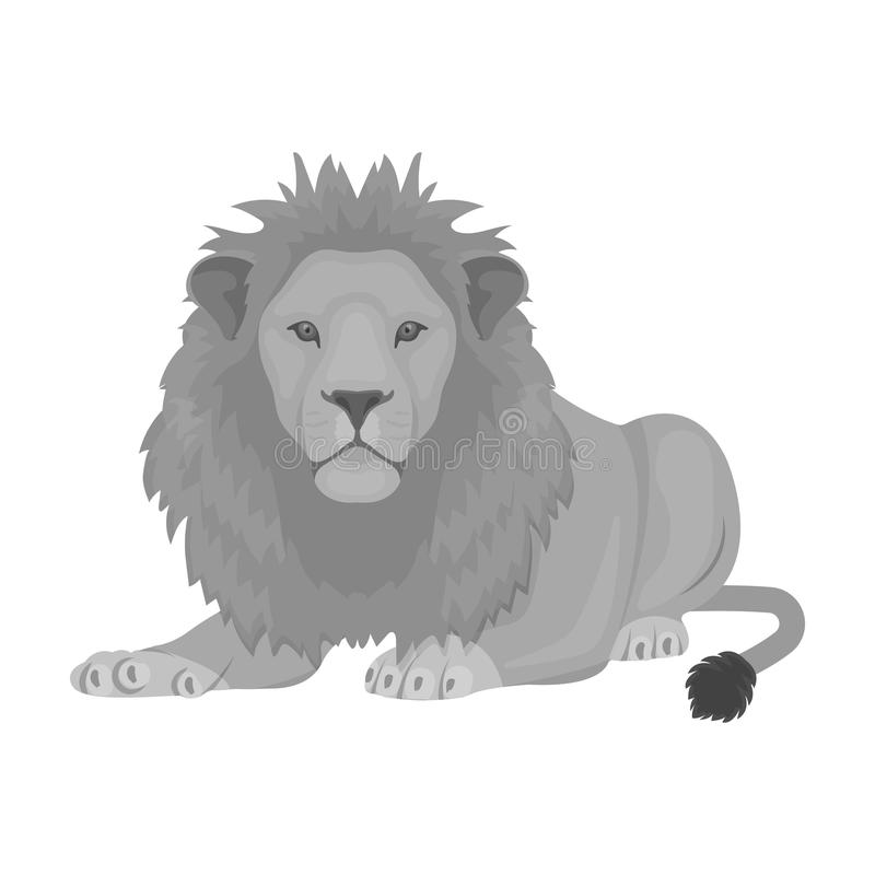 Lew, drapieżnik, dziki i okrutnie Leo królewiątko bestie przerzedże ikonę w monochromu stylu symbolu wektorowym zapasie royalty ilustracja