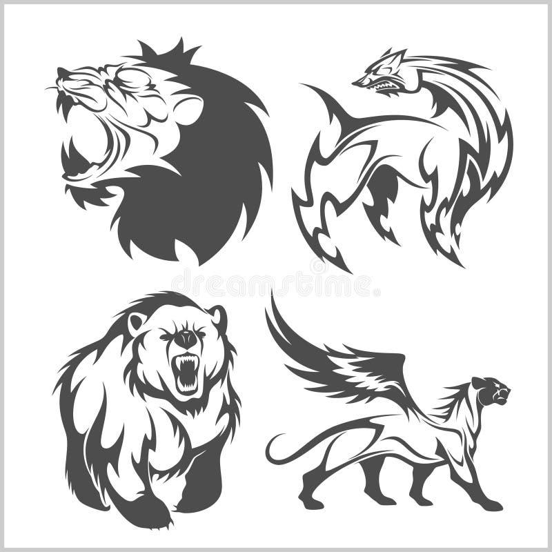 Lew głowa, gryfa fyl niedźwiedź tatuuje i projekty ilustracji