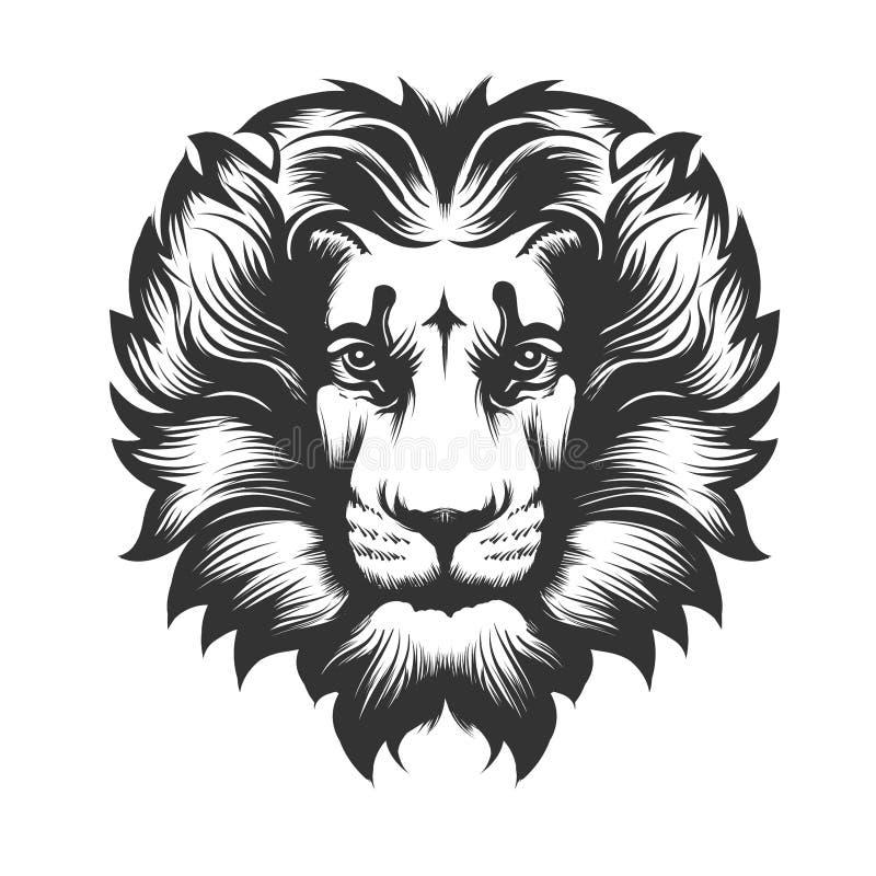 Lew głowa rysująca w rytownictwo stylu ilustracja wektor