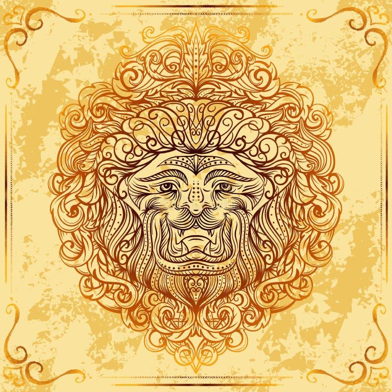 Lew głowa z barokowym ornamentem na grunge starzał się papierowego tło Rocznika tatuażu sztuka royalty ilustracja