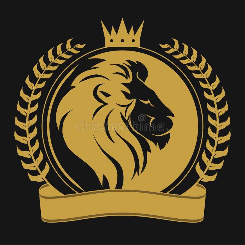 Lew głowa z korona logem ilustracja wektor