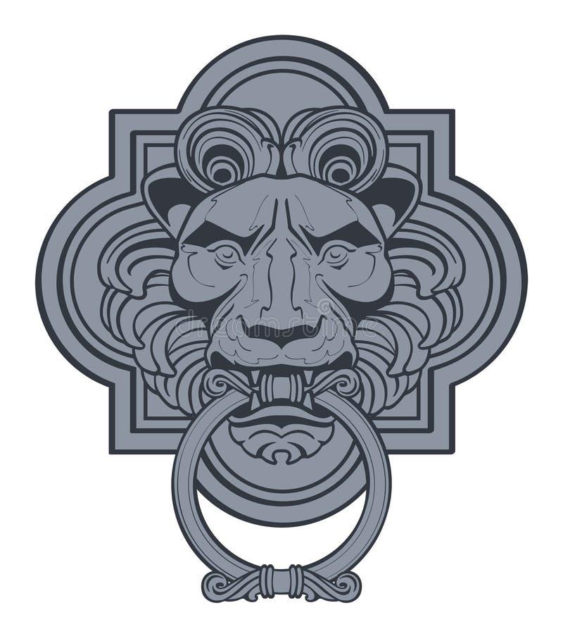 Lew głowy Drzwiowego Knocker Wektorowa grafika royalty ilustracja