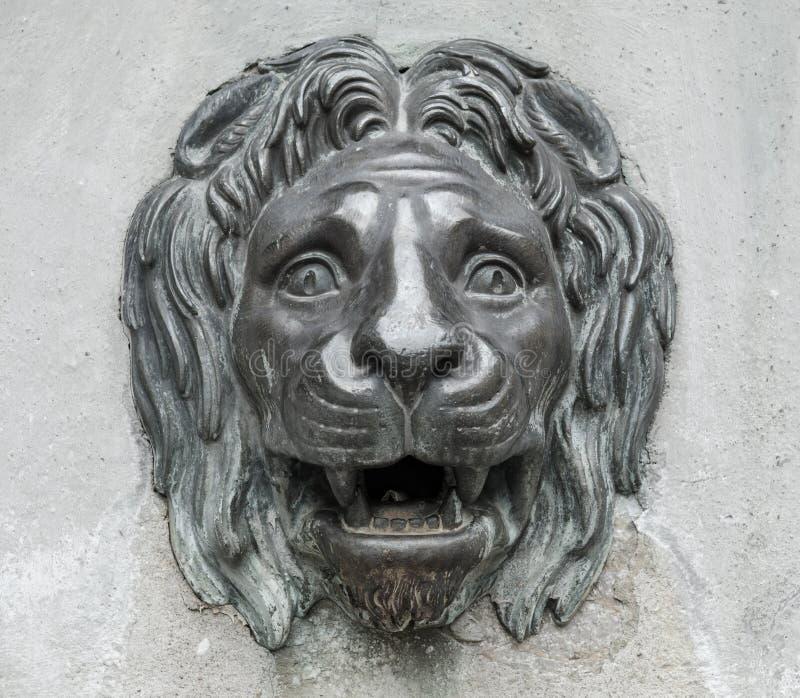 Lew głowy rzeźba obraz royalty free