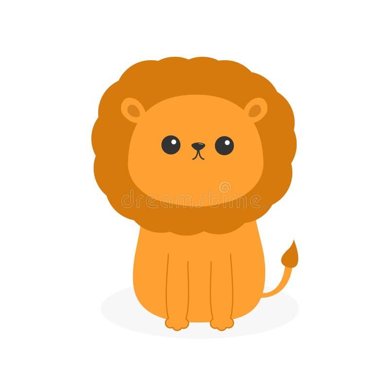 Lew ikona Ślicznej kreskówki śmieszny charakter Dziecka zwierzę royalty ilustracja