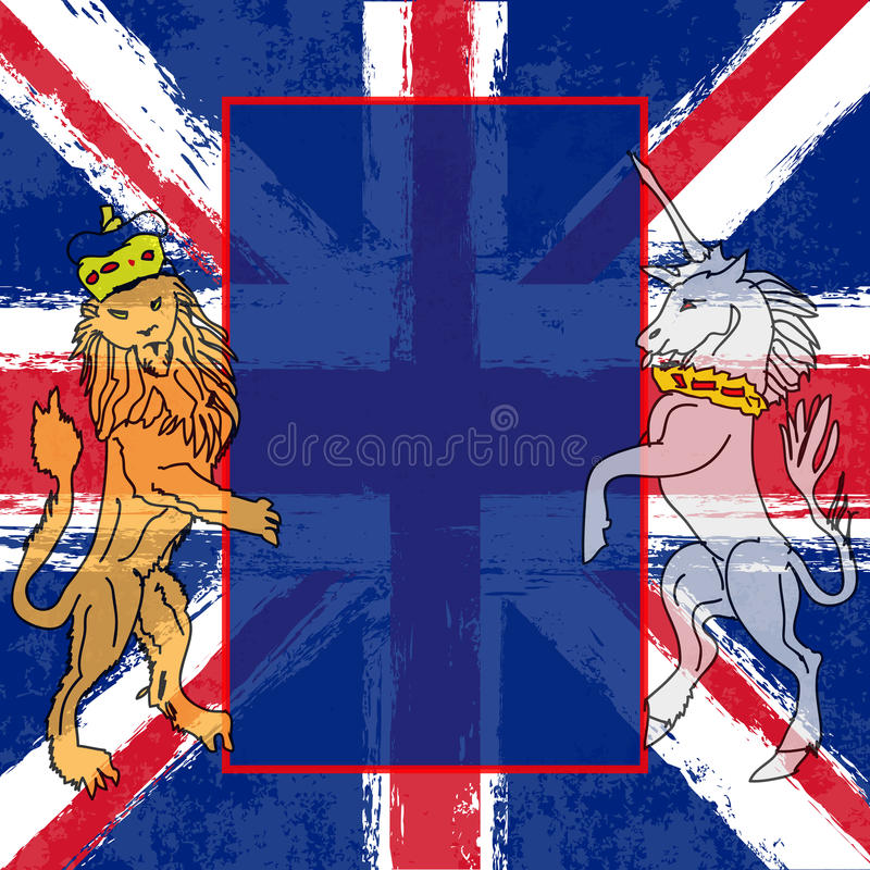lew jednorożec royalty ilustracja