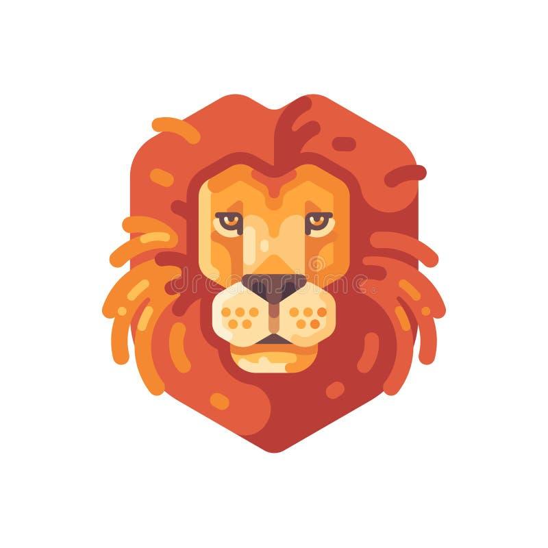 Lew kierownicza płaska ikona zwierzęcy ilustracyjny dziki