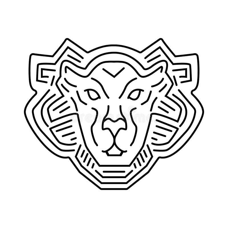 Lew kierowniczej linii loga projekt, wektorowy piktogram odizolowywający na bielu ilustracji