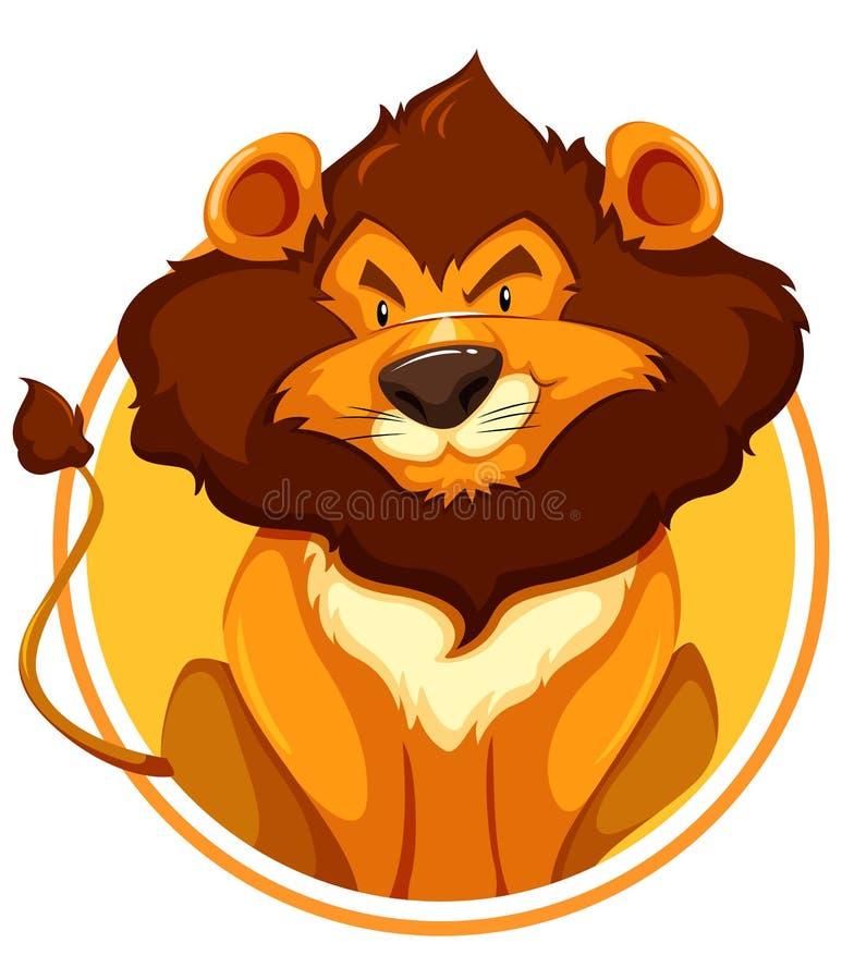 Lew na okręgu sztandarze ilustracji