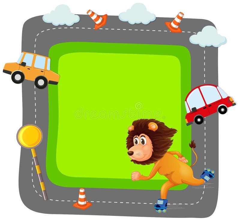 Lew na traffice sztandarze ilustracja wektor