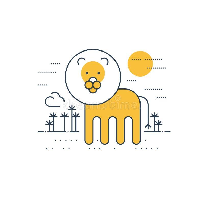 Lew plenerowy, prosta kreskówka ilustracja wektor