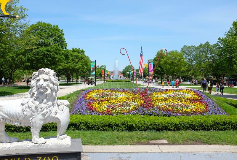 Lew statuy Brookfield zoo zdjęcie royalty free
