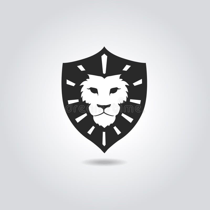 Lew twarzy loga emblemata szablon dla biznesu lub t ilustracja wektor