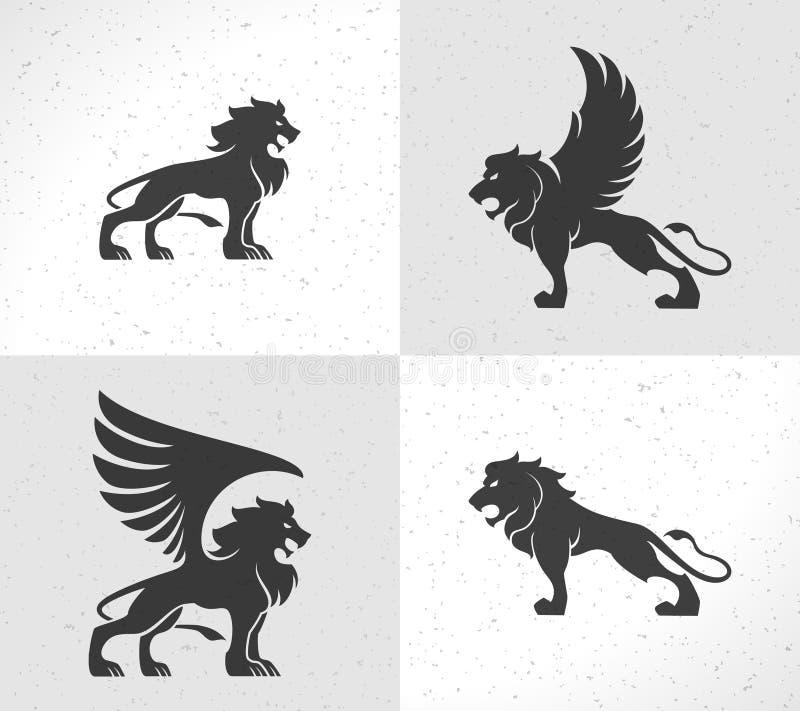 Lew twarzy loga emblemata szablon dla biznesu lub t royalty ilustracja