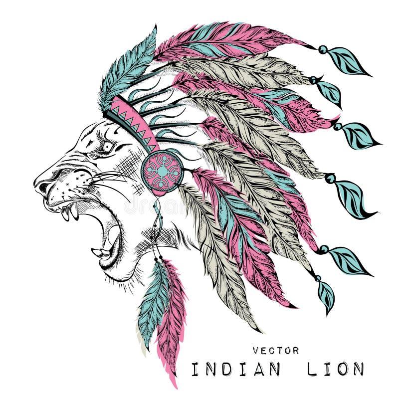 Lew w barwionej Indiańskiej płoci Indianina piórkowy pióropusz orzeł royalty ilustracja