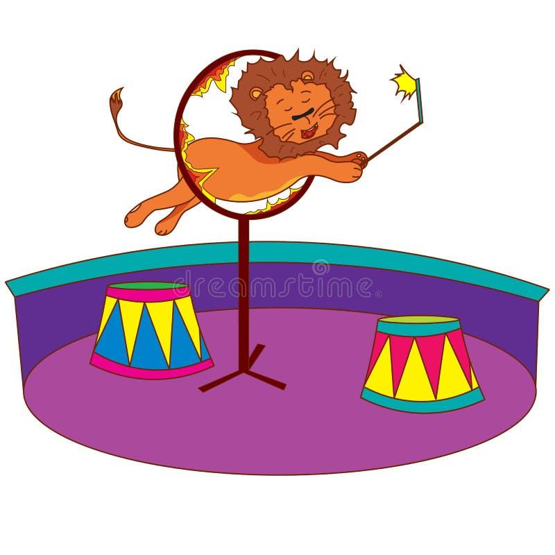 Lew w cyrku skacze nad pierścionkiem ogień ilustracji