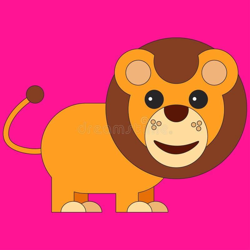 Lew w kreskówki mieszkania stylu ilustracji