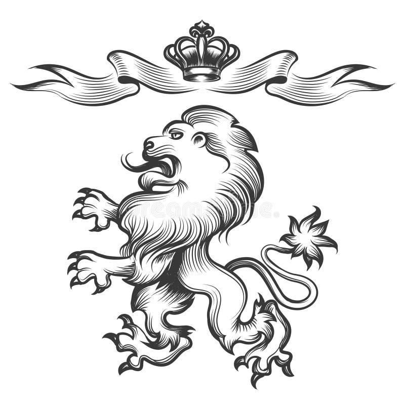Lew z koroną w rytownictwo stylu royalty ilustracja