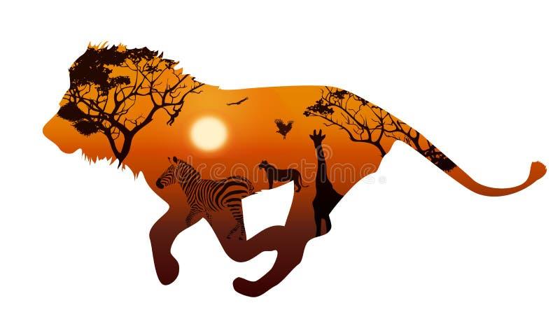 Lew z sylwetkami zwierzę sawanna 2 royalty ilustracja