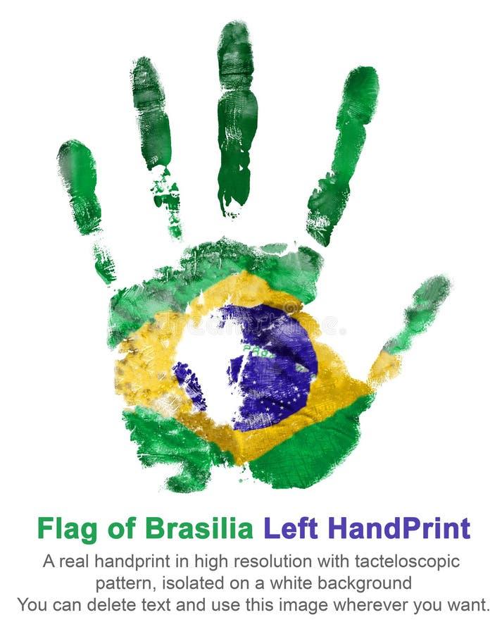 Lewa ręka druk w brazylijskiej flaga barwi na białym odosobnionym tle, krajowy świętowanie brazilia fotografia royalty free