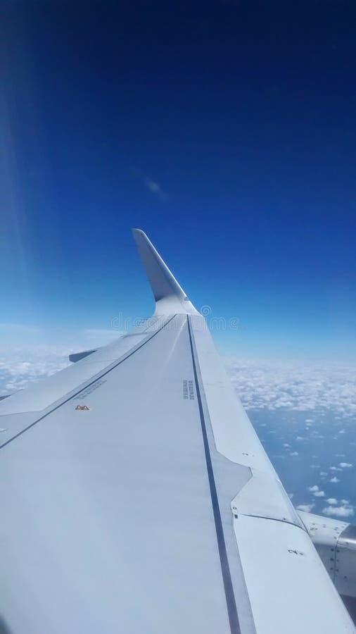 Lewe skrzydło partii samolot zdjęcie royalty free