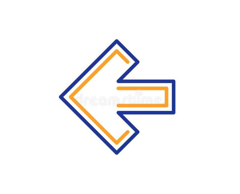 Lewej strzała linii ikona Kierunku grot wektor ilustracji