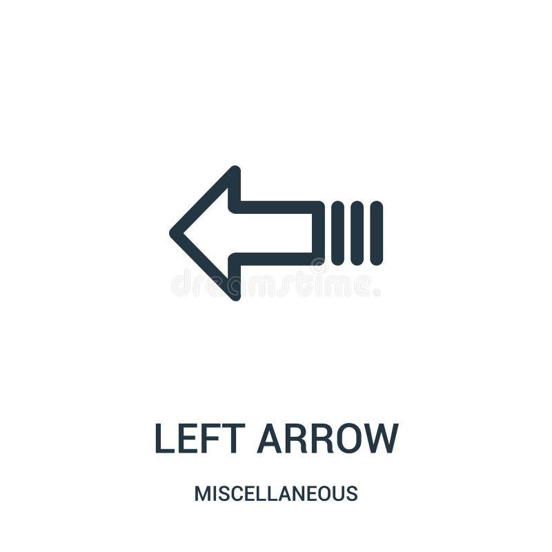 lewej strzały ikony wektor od różnej kolekcji Cienka kreskowa lewej strzały konturu ikony wektoru ilustracja Liniowy symbol dla u ilustracji
