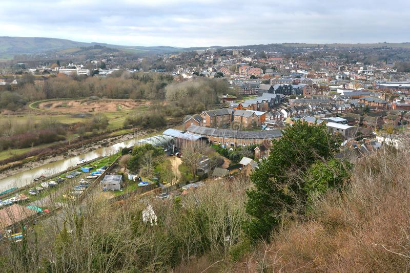 Lewes, East Sussex. Landscape of Lewes, county town of East Sussex, UK stock photos