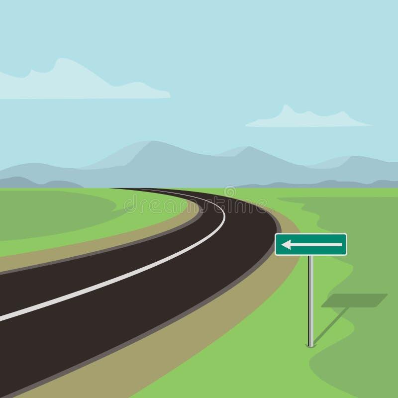 Lewicy koszowa droga i skręt w lewo drogowy znak royalty ilustracja