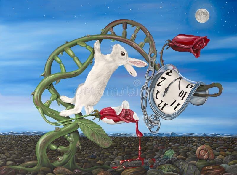 Lewis Carroll Meets Dali stock illustration
