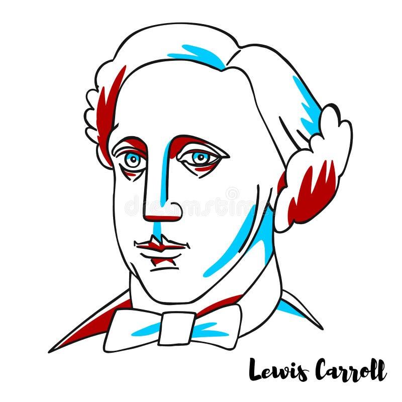 Lewis Carroll portret ilustracja wektor