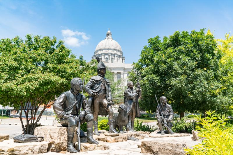Lewis and Clark Monument in Jefferson City, Missouri. JEFFERSON CITY, MO - JUNE 20, 2018: Lewis and Clark Monument next to the state capital building in royalty free stock images