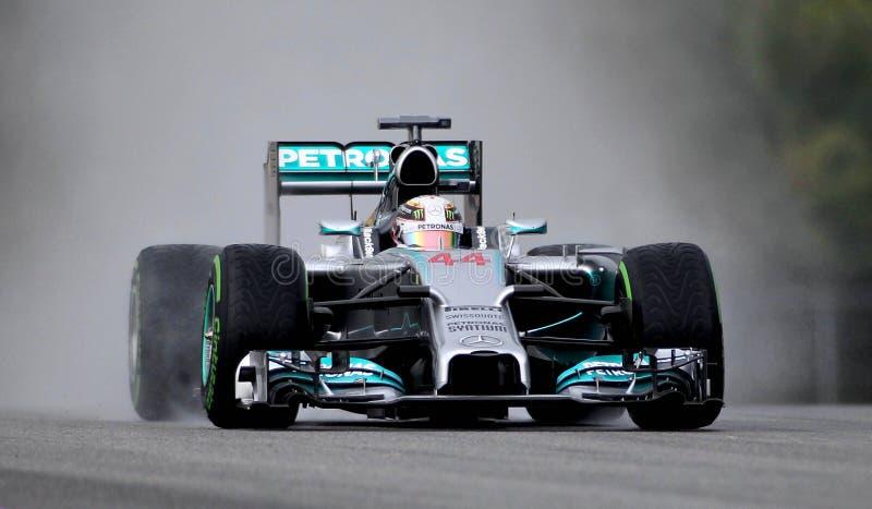 Lewis Hamilton de Mercedes foto de stock royalty free