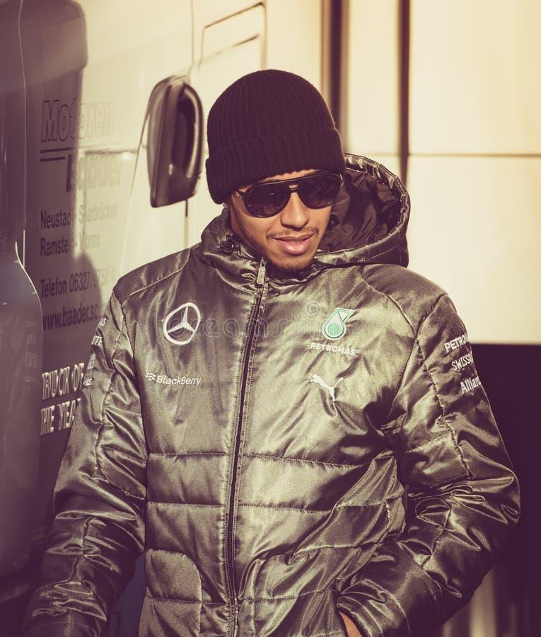 Lewis Hamilton formel 2014 1 arkivbild