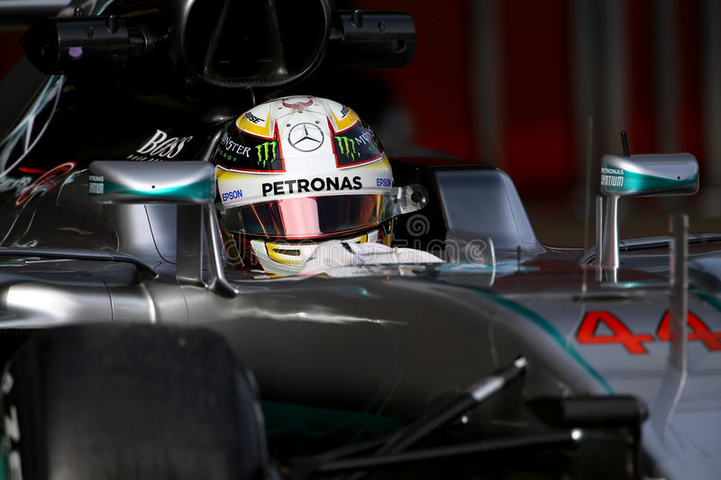 Lewis Hamilton (GBR), AMG Mercedes F1 Team, F1 testing Barcellona 2016 royalty free stock photos