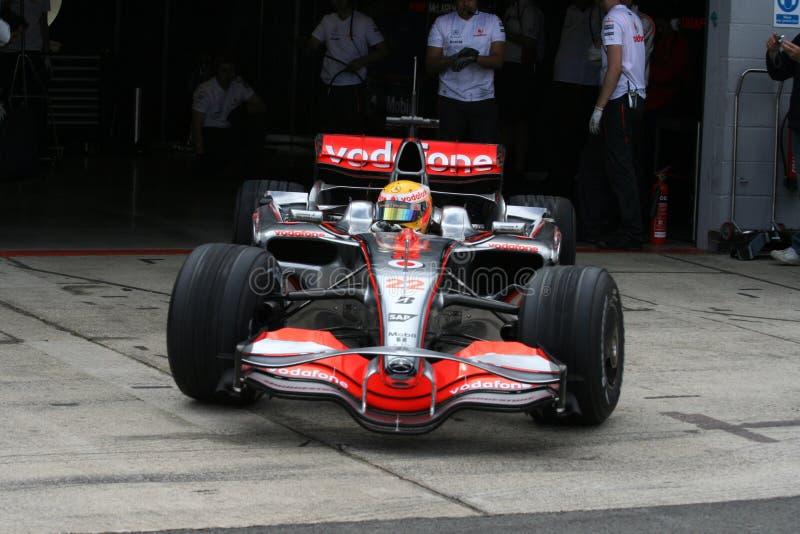 Lewis Hamilton leaving the pits stock image