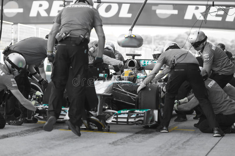 Lewis Hamilton - Merecedes F1 Driver & Pitstop Team royalty free stock images