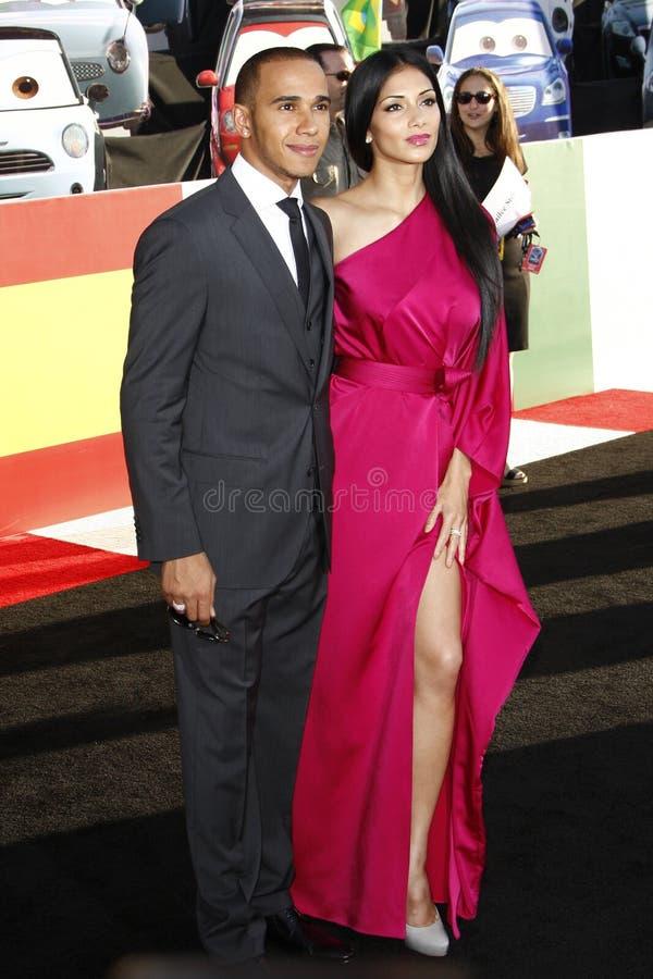 Lewis Hamilton, Nicole Scherzinger, die Autos lizenzfreies stockbild