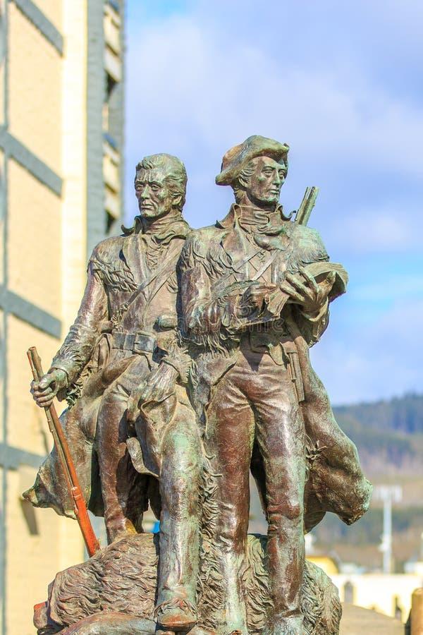 Lewis und Clark Statue in der Küste, Oregon lizenzfreie stockfotografie