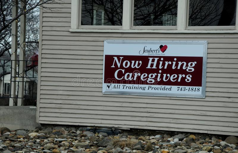NOW HIRING CAREGIVERS. LEWISTON/IDAHO/USA 18 December 2017. Now hiring cargivers . Photo.Francis Dean/Dean Pictures royalty free stock image