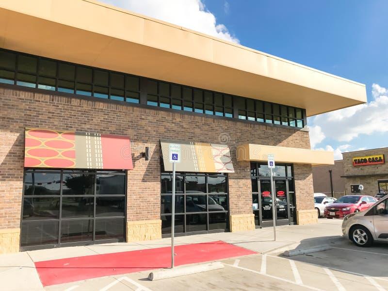 Exterior entrance of Jason Deli restaurant chain in Lewisville,. LEWISVILLE, TX, US-SEPT 13, 2018:Facade entrance of Jason Deli, family owned fast casual stock image